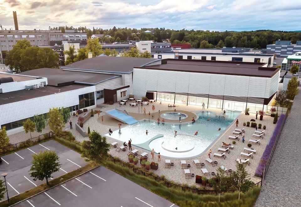 Slik blir det nye utendørsanlegget til Østfoldbadet når det står ferdig om noen uker. Illustrasjon: Multiconsult.